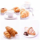 Raccolta di vista superiore dell'assortimento della tazza di caffè e dei chicchi di caffè isolata Fotografia Stock