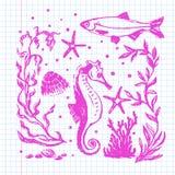 Raccolta di vita di mare Illustrazione disegnata a mano originale Immagini Stock