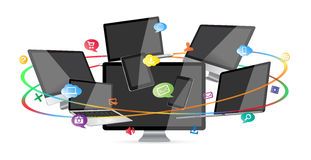 Raccolta digitale moderna del dispositivo di tecnologia Immagini Stock Libere da Diritti