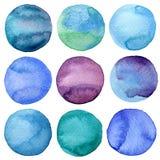 Raccolta dipinta a mano dei cerchi dell'acquerello Immagine Stock Libera da Diritti