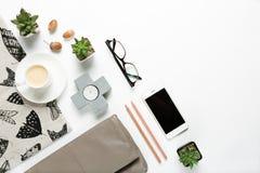 Raccolta disegnata degli oggetti e degli accessori di modo domestici delle donne Fotografia Stock Libera da Diritti