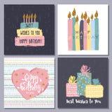 Raccolta disegnata a mano creativa delle carte di buon compleanno Fotografia Stock Libera da Diritti