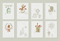 Raccolta disegnata a mano degli inviti romantici a Immagini Stock Libere da Diritti