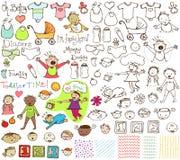 Raccolta disegnata a mano dei bambini e dei bambini fotografie stock