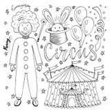 Raccolta disegnata a mano del circo con il pagliaccio, il pallone, la tenda ed il coniglio di magia Pagina del libro da colorare  Fotografia Stock
