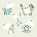Raccolta disegnata a mano del fumetto degli animali con i manifesti Immagini Stock Libere da Diritti