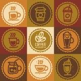 Raccolta disegnata a mano dell'insieme di caffè Immagini Stock