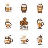 Raccolta disegnata a mano dell'insieme di caffè Fotografia Stock Libera da Diritti