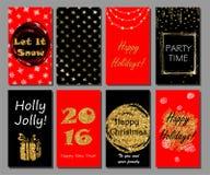 Raccolta disegnata a mano delle carte del nuovo anno e di Natale Invito del partito di natale Fotografie Stock Libere da Diritti