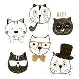Raccolta disegnata a mano delle teste dei gatti Pantaloni a vita bassa e signori emozionali dei gatti dei fronti Illustrazione di Fotografia Stock
