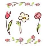 Raccolta disegnata a mano descritta del fiore Fotografia Stock
