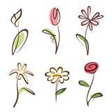 Raccolta disegnata a mano descritta del fiore Immagine Stock