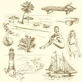 Raccolta disegnata a mano di estate Immagini Stock