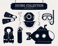 Raccolta disegnata a mano di immersione subacquea degli elementi Fotografia Stock Libera da Diritti