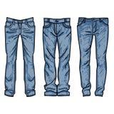 Raccolta disegnata a mano di modo dei jeans del ` s degli uomini Blue jeans del disegno illustrazione vettoriale