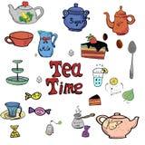 Raccolta disegnata a mano di tempo del tè illustrazione vettoriale