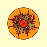 Raccolta disegnata a mano di vacanze invernali di concetto del buon anno e di Garland Decoration Icon Merry Christmas Immagini Stock Libere da Diritti