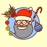 Raccolta disegnata a mano di vacanze invernali di concetto del buon anno di Santa Claus Icon Merry Christmas And Immagini Stock