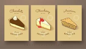 Raccolta dolce dei dolci e della torta di mele del formaggio Immagine Stock Libera da Diritti
