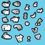 Raccolta Doodled della frutta e degli animali Fotografia Stock Libera da Diritti