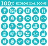 Raccolta ecologica delle icone Fotografia Stock Libera da Diritti
