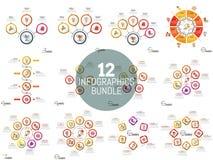 Raccolta enorme delle disposizioni infographic semplici illustrazione vettoriale