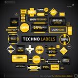 Raccolta enorme delle etichette e dei distintivi differenti illustrazione di stock