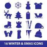 Raccolta eps10 dell'icona di natale e di inverno Illustrazione Vettoriale