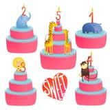 Raccolta felice delle torte di compleanno con gli animali e Fotografia Stock Libera da Diritti
