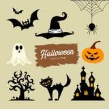 Raccolta felice di Halloween, con la zucca, pipistrello, gatto, fantasma, albero, cappello, ragno Fotografie Stock
