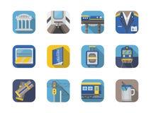 Raccolta ferroviaria delle icone di colore piano alla moda Immagini Stock Libere da Diritti
