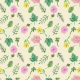 Raccolta floreale variopinta con le foglie ed i fiori, disegnati a mano illustrazione di stock