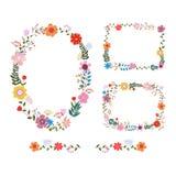 Raccolta floreale variopinta con le foglie ed i fiori Progettazione per la i Fotografia Stock Libera da Diritti