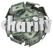Raccolta fondi della palla dei soldi di carità cento sfere del dollaro Fotografia Stock Libera da Diritti