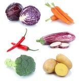Raccolta fresca delle patate delle carote delle verdure isolata Immagine Stock