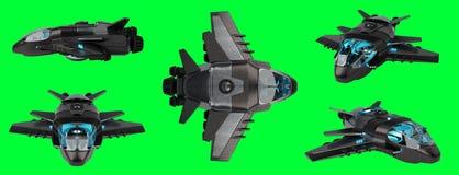 Raccolta futuristica del veicolo spaziale isolata su fondo verde 3D Immagini Stock