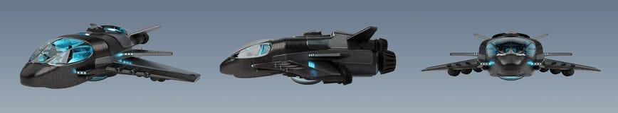 Raccolta futuristica del veicolo spaziale su fondo grigio 3D illustrazione vettoriale