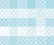 Raccolta geometrica e floreale dei modelli senza cuciture Ambiti di provenienza blu e bianchi Immagini Stock
