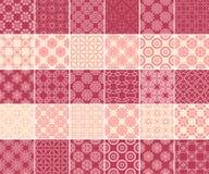 Raccolta geometrica e floreale dei modelli senza cuciture Ambiti di provenienza rosso ciliegia e beige Fotografia Stock