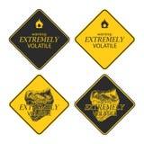 Raccolta gialla dei segni del pericolo e di avvertimento Fotografia Stock