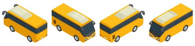 Raccolta gialla isometrica del minibus di trasporto pubblico illustrazione vettoriale
