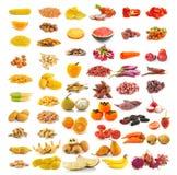 Raccolta gialla rossa dell'alimento isolata su bianco Fotografie Stock Libere da Diritti