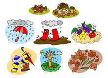Raccolta grafica degli elementi di autunno per i bambini Immagini Stock Libere da Diritti
