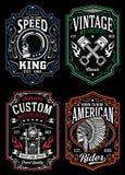 Raccolta grafica della maglietta d'annata del motociclo royalty illustrazione gratis
