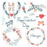 Raccolta grafica elegante felice degli elementi di giorno di biglietti di S. Valentino Fotografia Stock Libera da Diritti