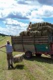 raccolta il trattore e dell'agricoltore del rimorchio Immagini Stock Libere da Diritti