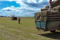 raccolta il trattore e dell'agricoltore del rimorchio Immagine Stock Libera da Diritti