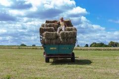 raccolta il trattore e dell'agricoltore del rimorchio Immagine Stock