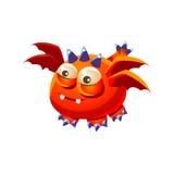 Raccolta immaginaria del mostro di Dragon With Four Wings Fantasy dell'animale domestico amichevole fantastico arancio Immagini Stock Libere da Diritti