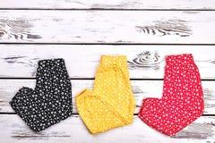 Raccolta infantile della ragazza dei pantaloni colorati Fotografia Stock Libera da Diritti